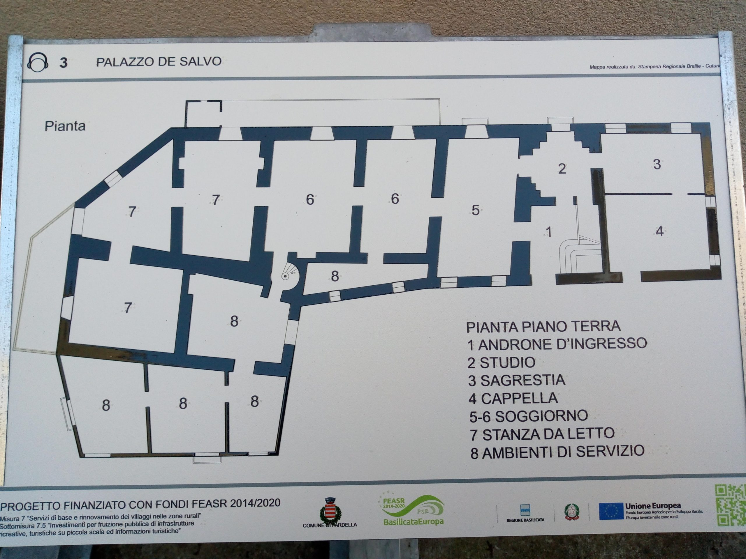 Pannello tattile Palazzo De Salvo Rilievo