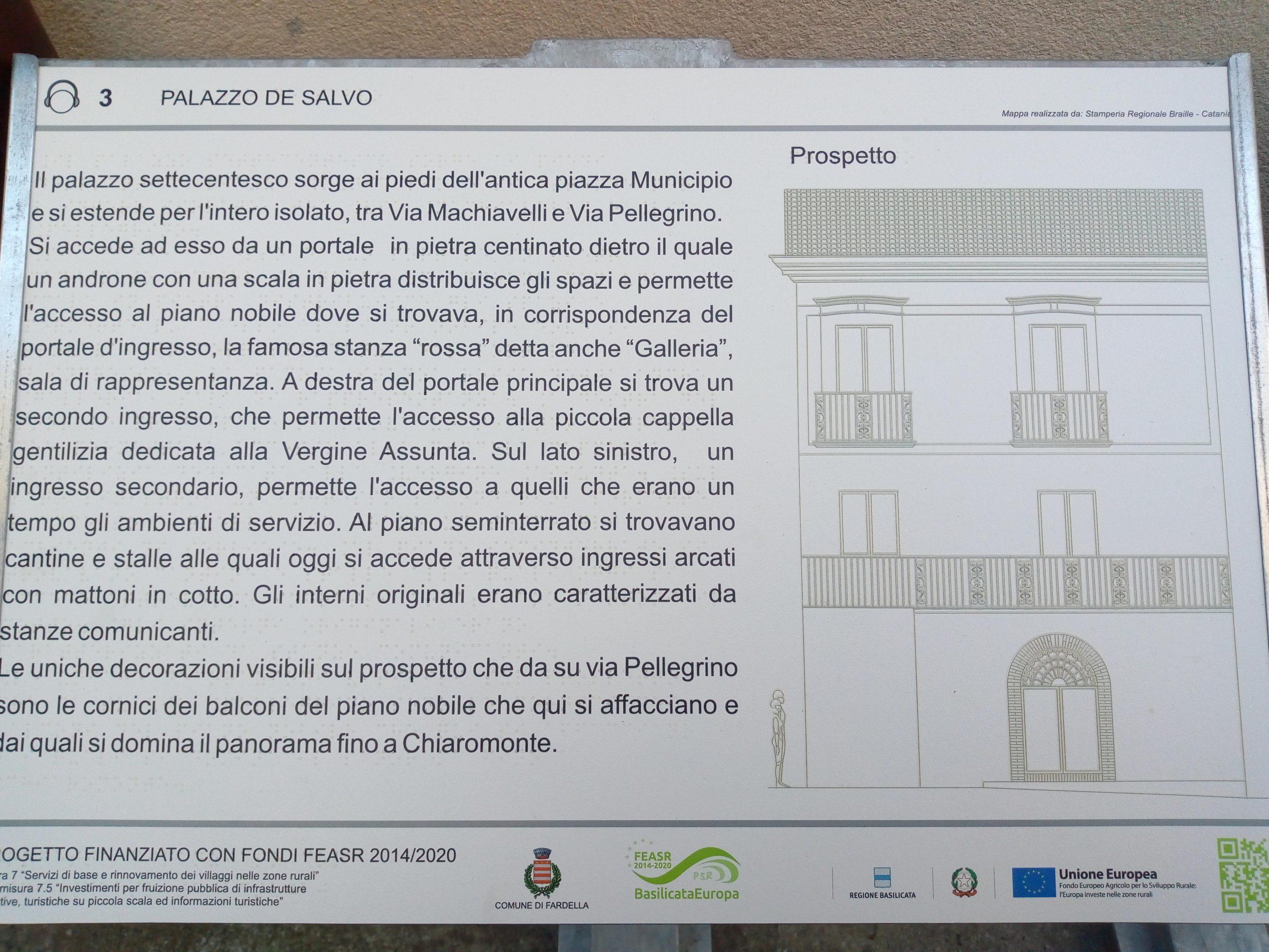 Pannello tattile Palazzo De Salvo